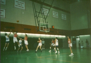 Boys basketball team playing