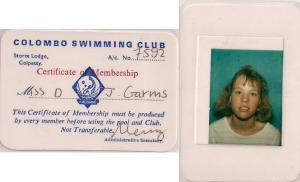 My Colombo Swimming Club membership card taken in 1988
