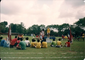 Myself Receiving 1st Place for Javelin Somewhere Between 1988 and 1993 on the Field